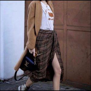 ZARA checked draped skirt